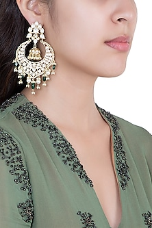 Gold Plated Faux Kundan & Green Pearl Earrings