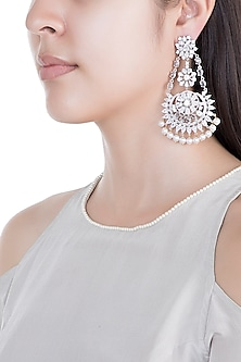 Silver Plated Faux Diamond Long Earrings
