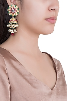 Gold Plated Faux Pearl Jhumka Earrings