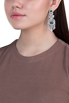 White gold plated faux diamond and emerald earrings