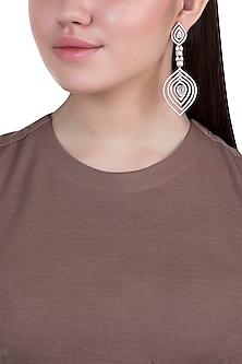 Rose gold plated faux diamond long earrings