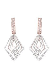 Rose gold plated diamond pave earrings by Aster