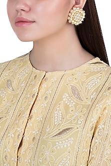 Yellow rhodium plated pearl and kundan stud earrings