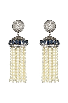 Black rhodium plated pearl, saphhire and zircon earrings by Aster