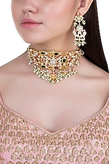 Yellow rhodium plated navratna pearl choker necklace set by Aster