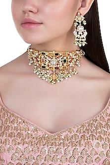 Yellow rhodium plated navratna pearl choker necklace set