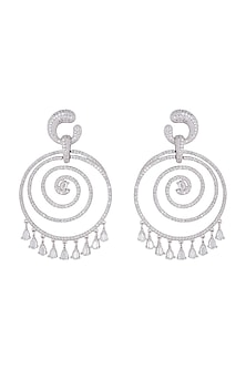 Silver plated faux diamond spiral earrings by Aster