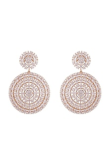 Gold plated faux diamond earrings by Aster