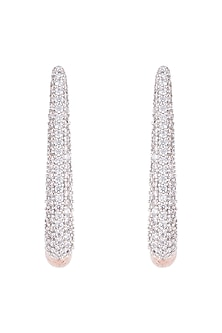 Rose gold plated faux diamond hoop earrings by Aster