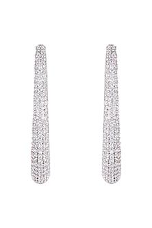 Silver plated faux diamond hoop earrings by Aster