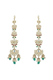 Gold plated faux kundan and green stone earrings by Aster