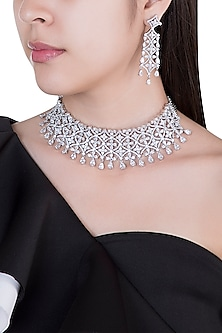 Silver plated faux diamond choker necklace set by Aster
