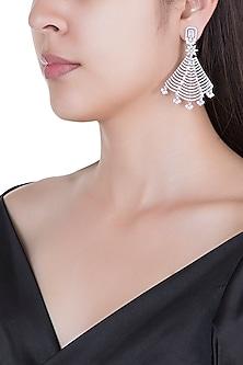 Silver plated faux diamond fan earrings by Aster