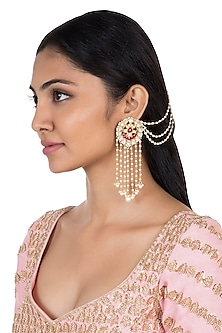 Gold plated faux kundan long earrings by Aster