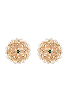 Gold plated faux kundan stud earrings by Aster