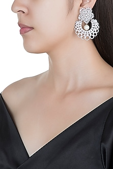 Silver plated faux diamond floral earrings