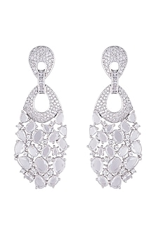 Silver plated faux diamond long dangler earrings by Aster