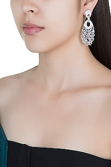 Silver plated faux diamond long dangler earrings
