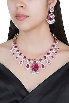 Silver plated faux diamond and ruby necklace set