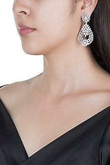 Silver plated faux diamond earrings by Aster