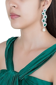 Silver plated faux diamond and emerald dangler earrings