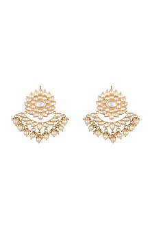 Gold plated faux kundan earrings by Aster