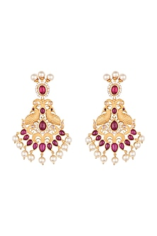 Gold plated faux kundan long earrings by Aster