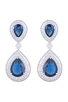 White Rhodium Finish Faux Diamond & Blue Stone Earrings by Aster
