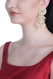 Gold Rhodium Finish Kundan & Colorful Stone Earrings by Aster