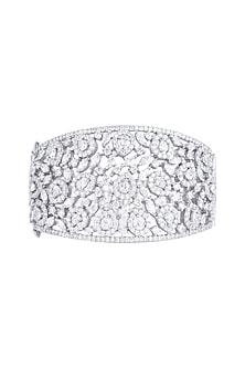 White Rhodium Finish Faux Diamond Kada Bracelet by Aster