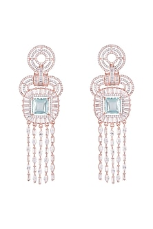 Rose Gold Finish Faux Diamond & Blue Stone Earrings by Aster