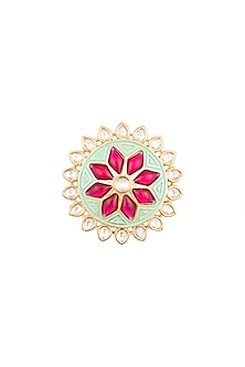 Yellow Rhodium Plated Turquoise Green Enamelled Kundan Ring by Aster