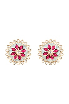 Yellow Rhodium Plated Turquoise Blue Enamelled Kundan Stud Earrings by Aster