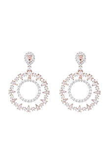 Rose Gold Plated Faux Rose Cut Diamond Earrings by Aster