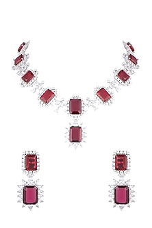 White Rhodium Plated Faux Diamond & Red Stone Necklace Set by Aster