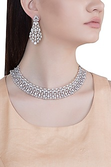 White Rhodium Plated Faux Diamond Necklace Set by Aster