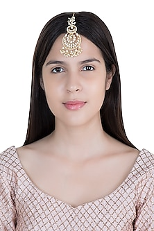 Yellow Rhodium Plated Kundan & Pearl Maangtika by Aster