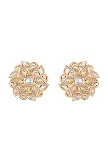 Gold Rhodium Finish Grey Kundan Stud Earrings by Aster