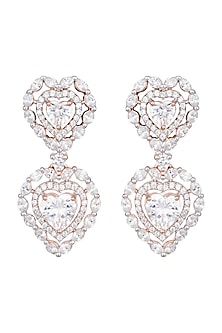 Rose Gold Plated Faux Diamond Heart Earrings by Aster