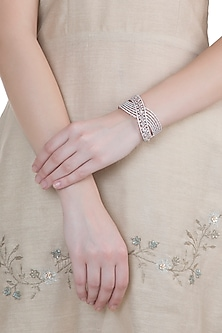 Rose Gold Plated Faux Diamond Openable Bracelet by Aster