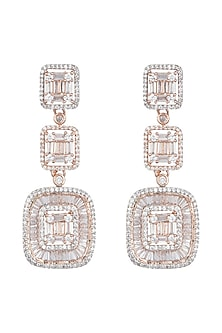 Rose Gold Plated Faux Diamond Flexible Earrings by Aster
