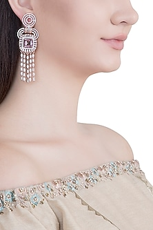 Rose Gold Plated Faux Diamond & Violet Stone Dangler Earrings by Aster