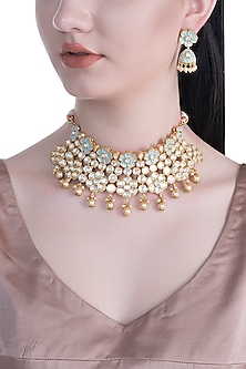 Gold Rhodium Finish Blue Enameled Kundan & Faux Pearl Necklace Set by Aster
