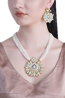 Gold Rhodium Finish Blue Enameled Kundan Necklace Set by Aster