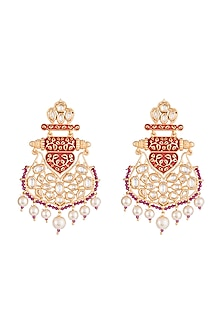 Gold Rhodium Finish Red Enameled Kundan Earrings by Aster