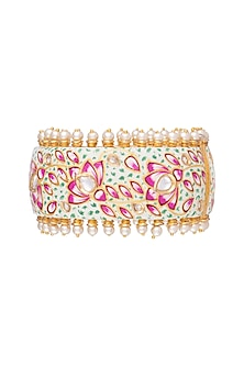 Gold Rhodium Finish Kundan & Pearl Meenakari Openable Bangle by Aster