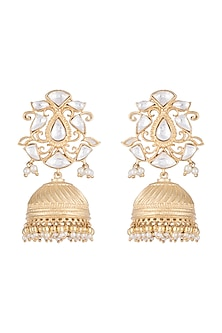 Gold Finish Kundan & Faux Pearl Jhumki Earrings by Aster
