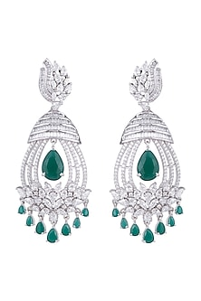 White Rhodium Finish Green Stone & Faux Diamond Earrings by Aster