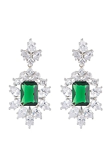 White Finish Faux Diamond & Green Stones Earrings by Aster