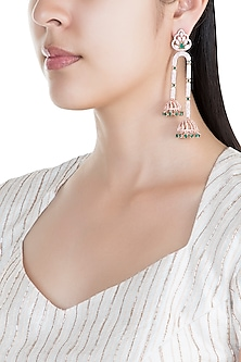 Rose Gold Finish Faux Diamond & Green Stone Jhumka Earrings by Aster